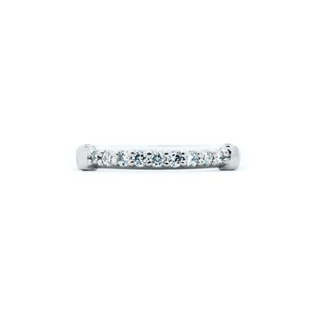 Crafted in 14KT white gold, this ring features 13 round brilliant-cut diamonds in a row.