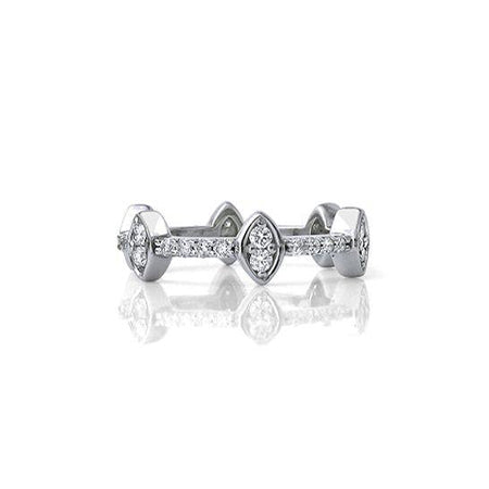 Crafted in 14KT white gold, this ring features 12 round brilliant-cut diamonds sparkling from 6 marquise settings spaced evenly apart on a diamond set band.