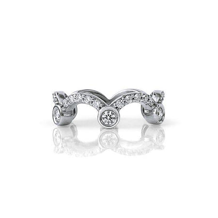 Crafted in 14KT white gold, this ring is shaped like a tiara and set with round brilliant cut diamonds.