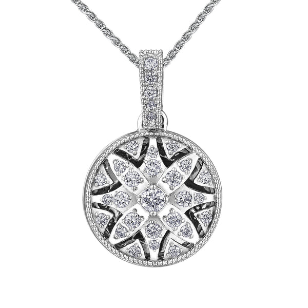 Crafted in 14KT Certified Canadian Gold, this water lily-inspired filigree locket features round brilliant-cut Canadian diamonds.