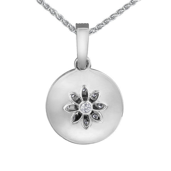 Back side of the locket features a small water lily cut out with a round brilliant-cut Canadian centre diamond.