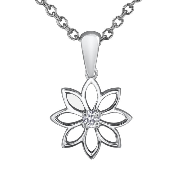 Water Lily pendant crafted from 14KT Certified Canadian Gold. Necklace features a 0.12CT round brilliant-cut Canadian diamond at its centre.