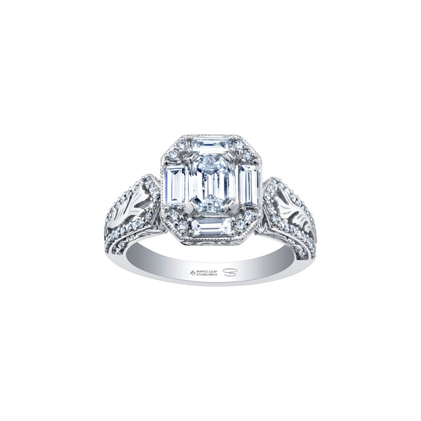 Crafted in 18kt Pure White™, this ring features an emerald-cut Canadian centre diamond framed by round and baguette-cut diamonds on a frost-inspired hand engraved band with a blue sapphire detail.