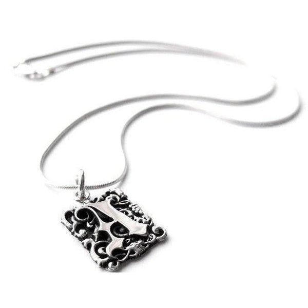 Crafted in sterling silver, this pendant features a goth style letter entwined in foliage.