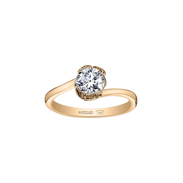 Maple Leaf Solitaire Ring