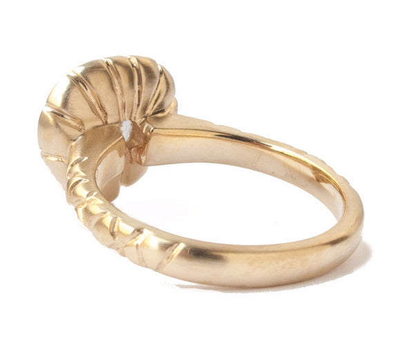 Bound Pear-Shape Rose-Cut Ring with Tiger Claws