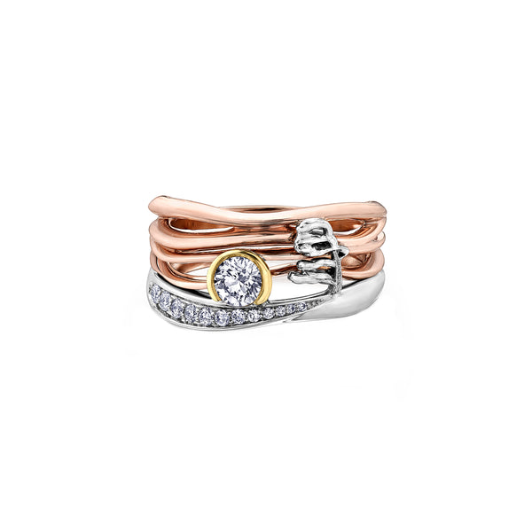 Crafted in 14KT rose, white, and yellow Certified Canadian Gold, this ring features a sunset scene with a round brilliant-cut Canadian diamond sun, diamond set lake, and Group of Seven inspired tree.