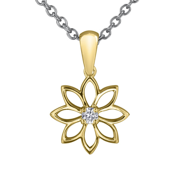 Crafted in 14KT Certified Canadian Gold, this necklace features a water lily pendant with a round brilliant-cut centre diamond.
