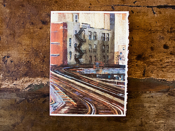 """Brown Line Twist"" Greeting Card of Chicago ""El"" Train"