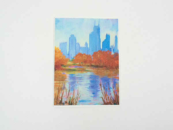 """View From Lincoln Park"" – North Pond Greeting Card"