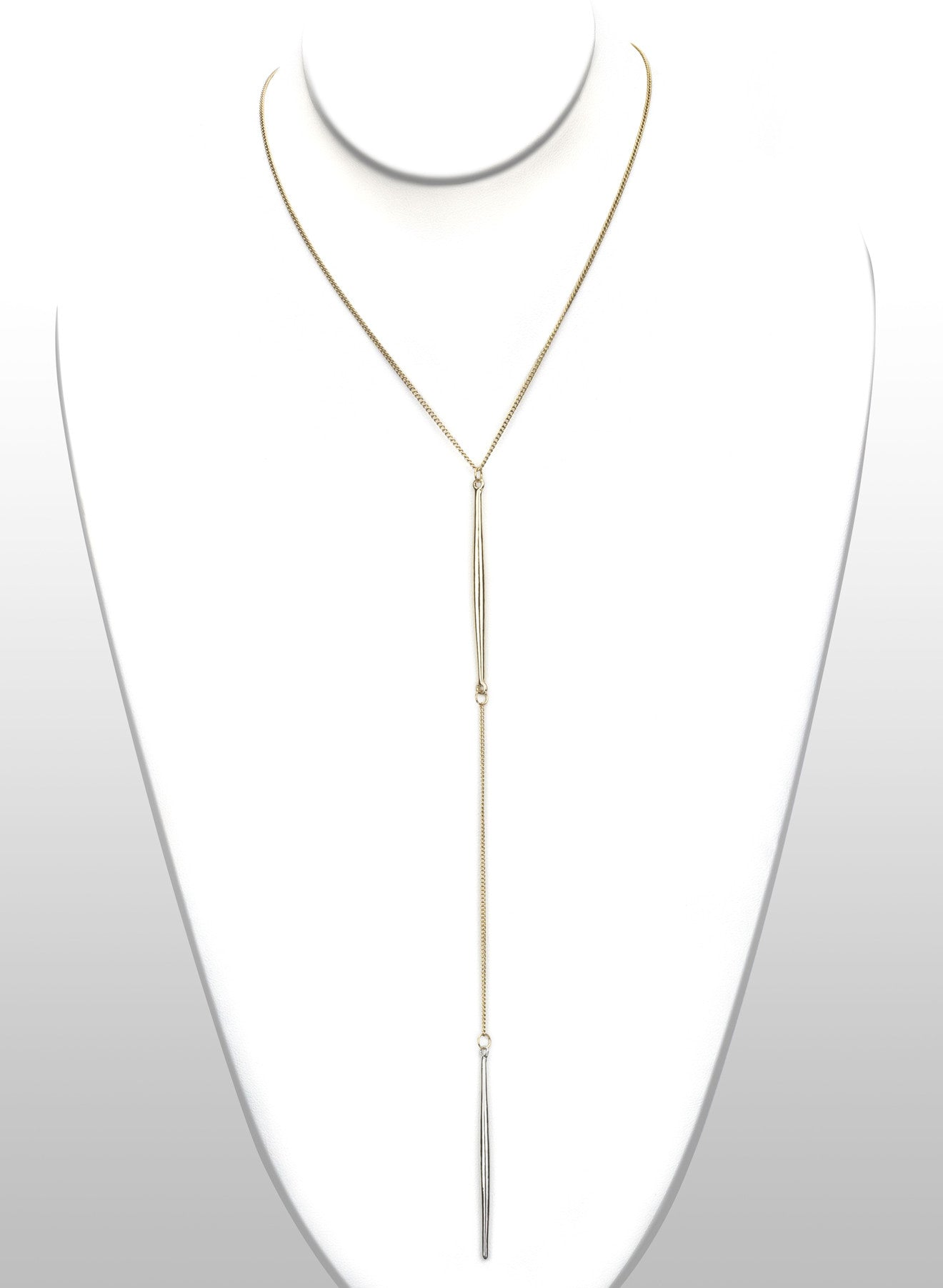 Double Tone Y Shape Necklace - Gold Color