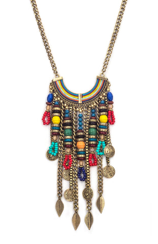 Multi-Colored Gypsy Ethnic Boho Necklace
