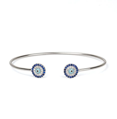 Evil Eye Light Blue Double Cuff Silver 925