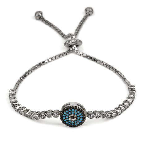 Evil Eye Round Shape Adjustable Tennis Bracelet Silver 925