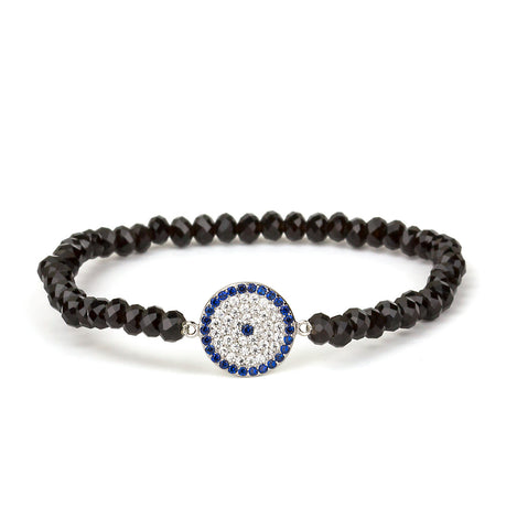 Evil Eye Stretch Onyx Bead Bracelet Silver 925