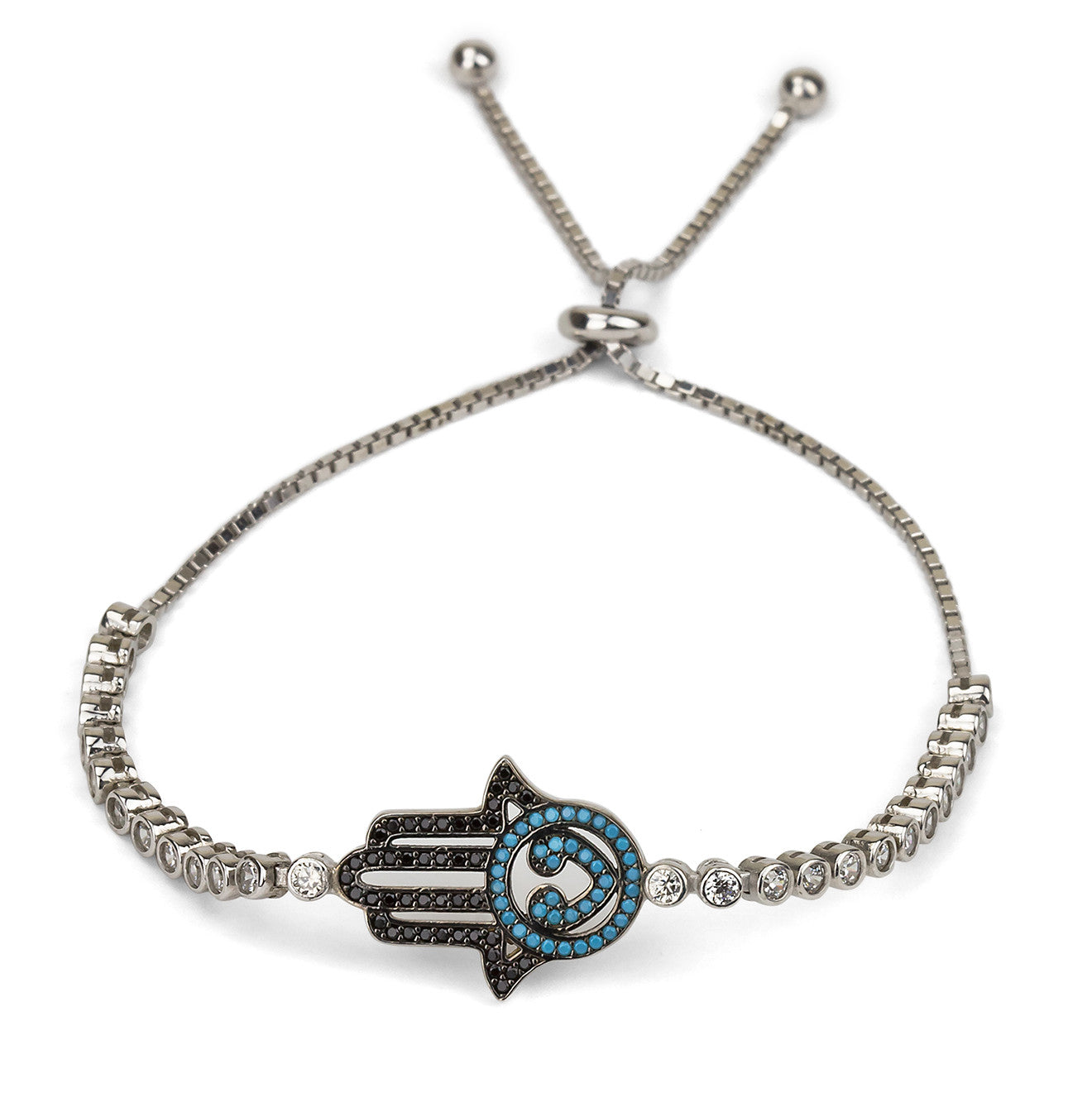Hamsa Hand Adjustable Eye Shaped Tennis Bracelet Silver 925