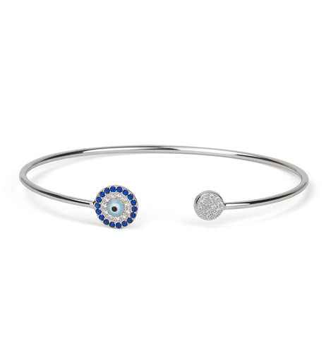 Evil Eye Light Blue Eye Leather Choker Silver 925