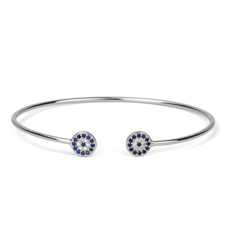 Evil Eye Double Band Ring Silver 925