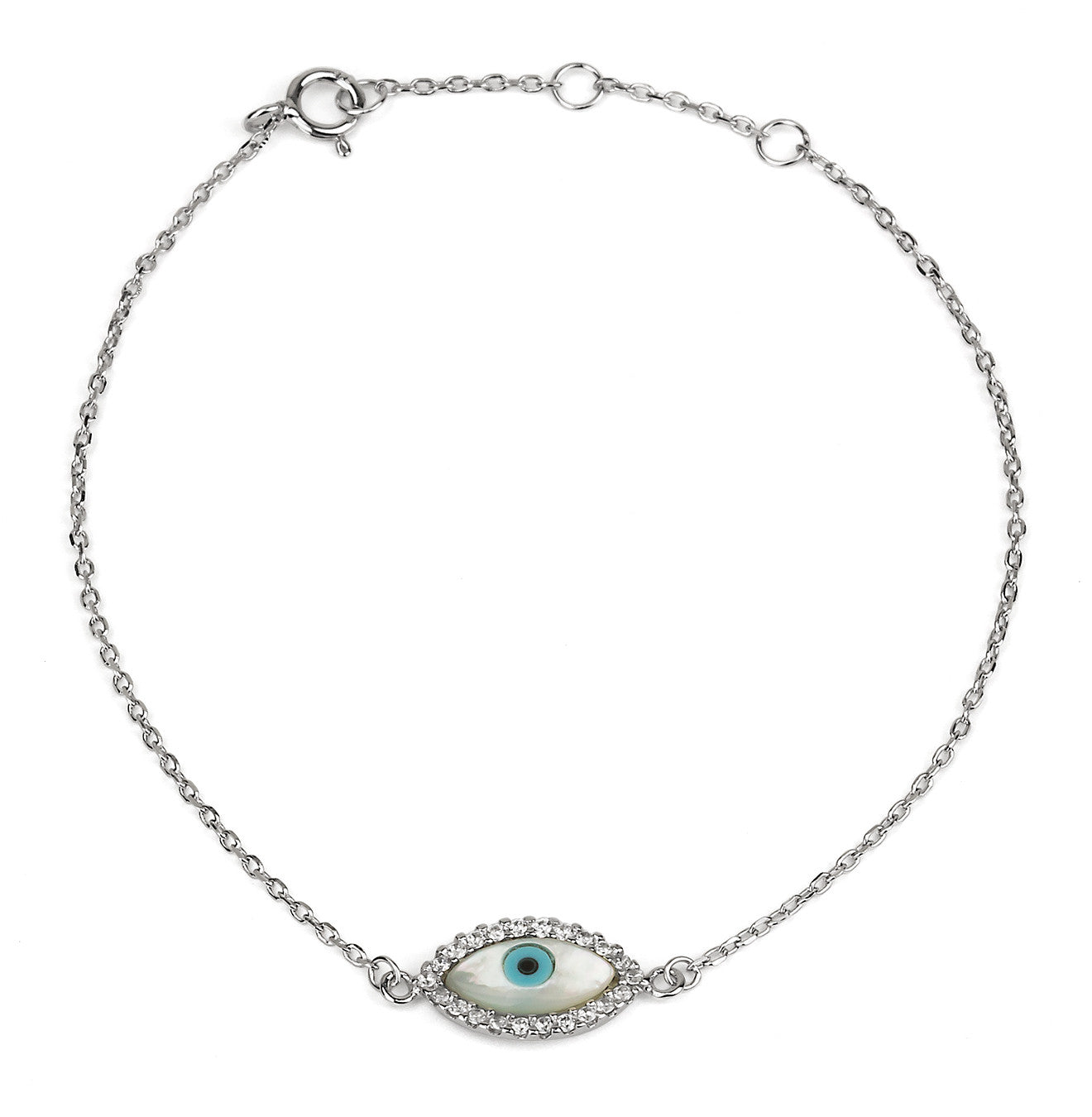 Evil Eye Mother of Pearl Delicate 925 Silver Bracelet