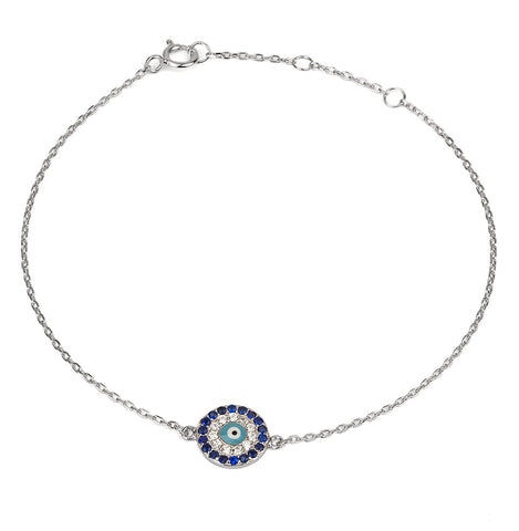 Evil Eye Light Blue Eye 925 Silver Bracelet