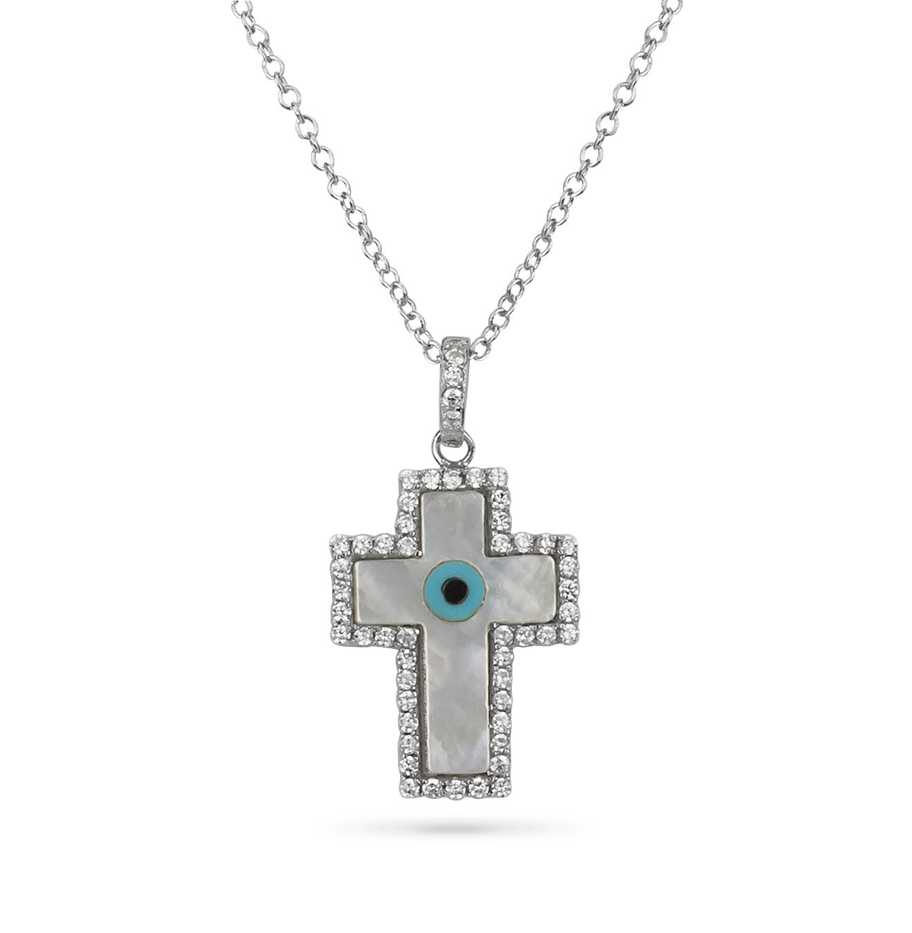 Cross and Evil Eye Mother of Pearl Pendant Silver 925