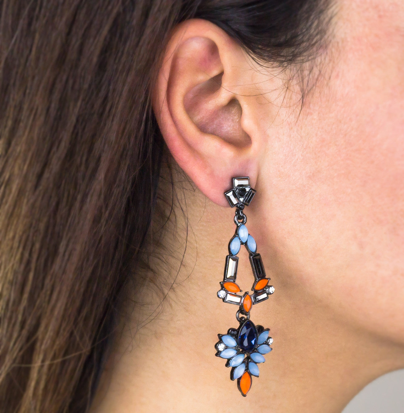 Afore Multi Color Drop Statement Earrings