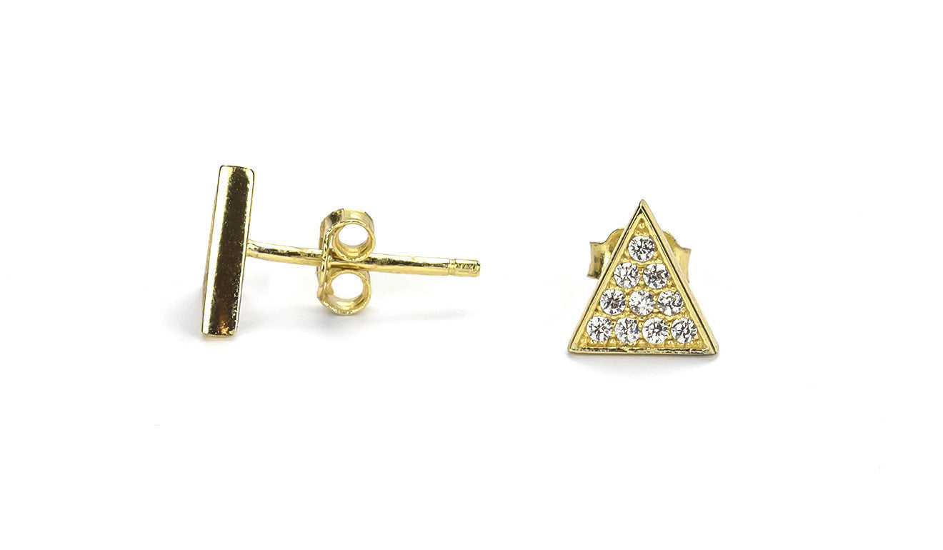 Triolad Gold Stud Earrings
