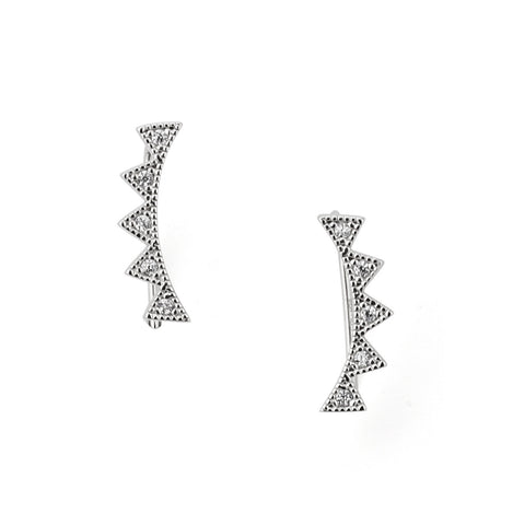 Spiky Silver Zirconia Ear Climber in Silver 925