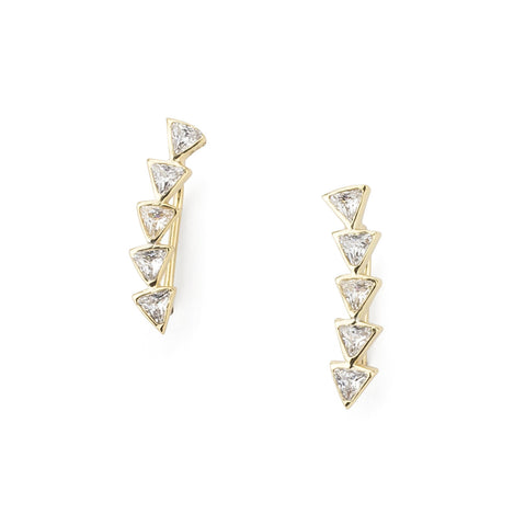Triangle Shaped Gold Color Zirconia Ear Climber in Silver 925