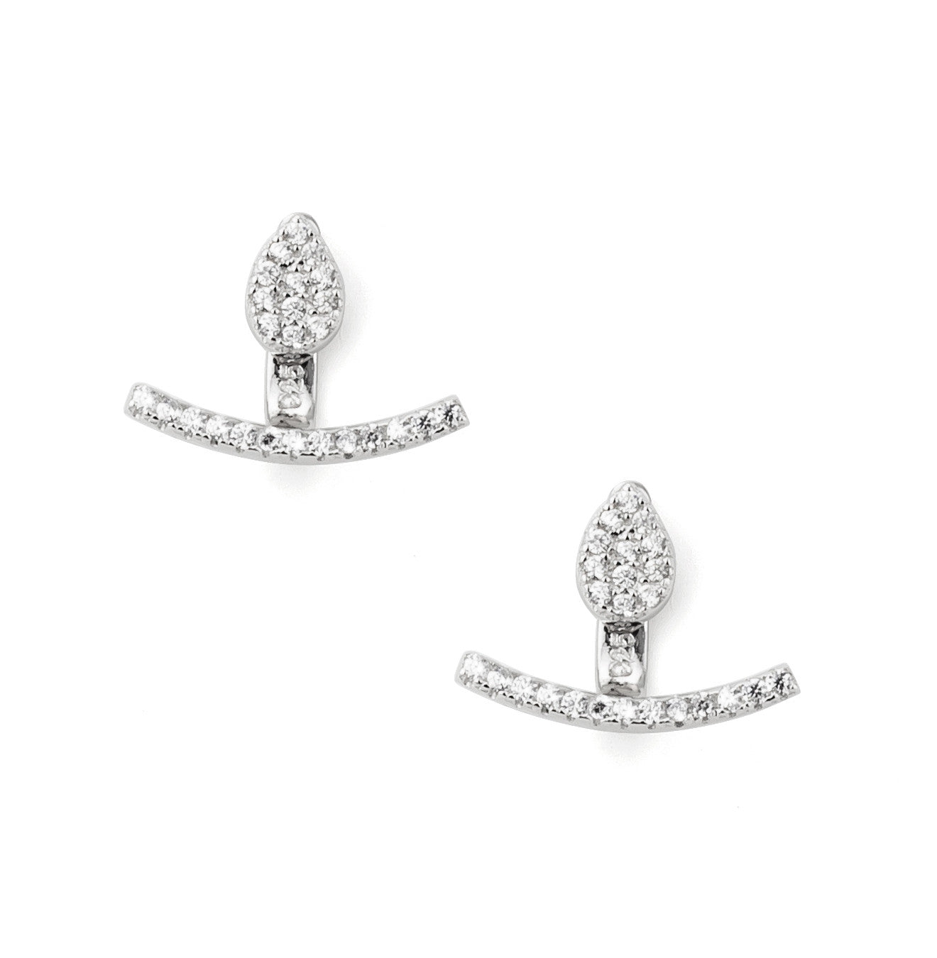 Curved Zirconia Bar Ear Jacket in Silver 925 - Silver