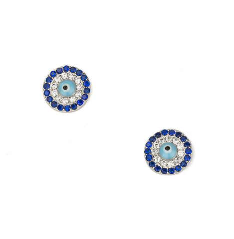Evil Eye Mid Size Round Shape Silver 925 Studs