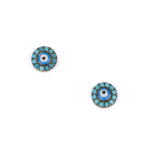 Evil Eye Turquoise Silver 925 Studs