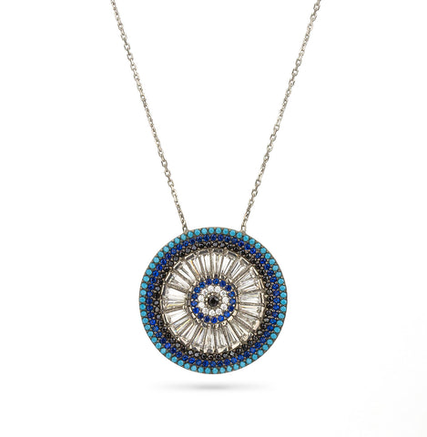 Evil Eye Turquoise Pave Necklace Silver 925