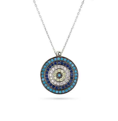 Evil Eye Boho Style Triangle Necklace Silver 925