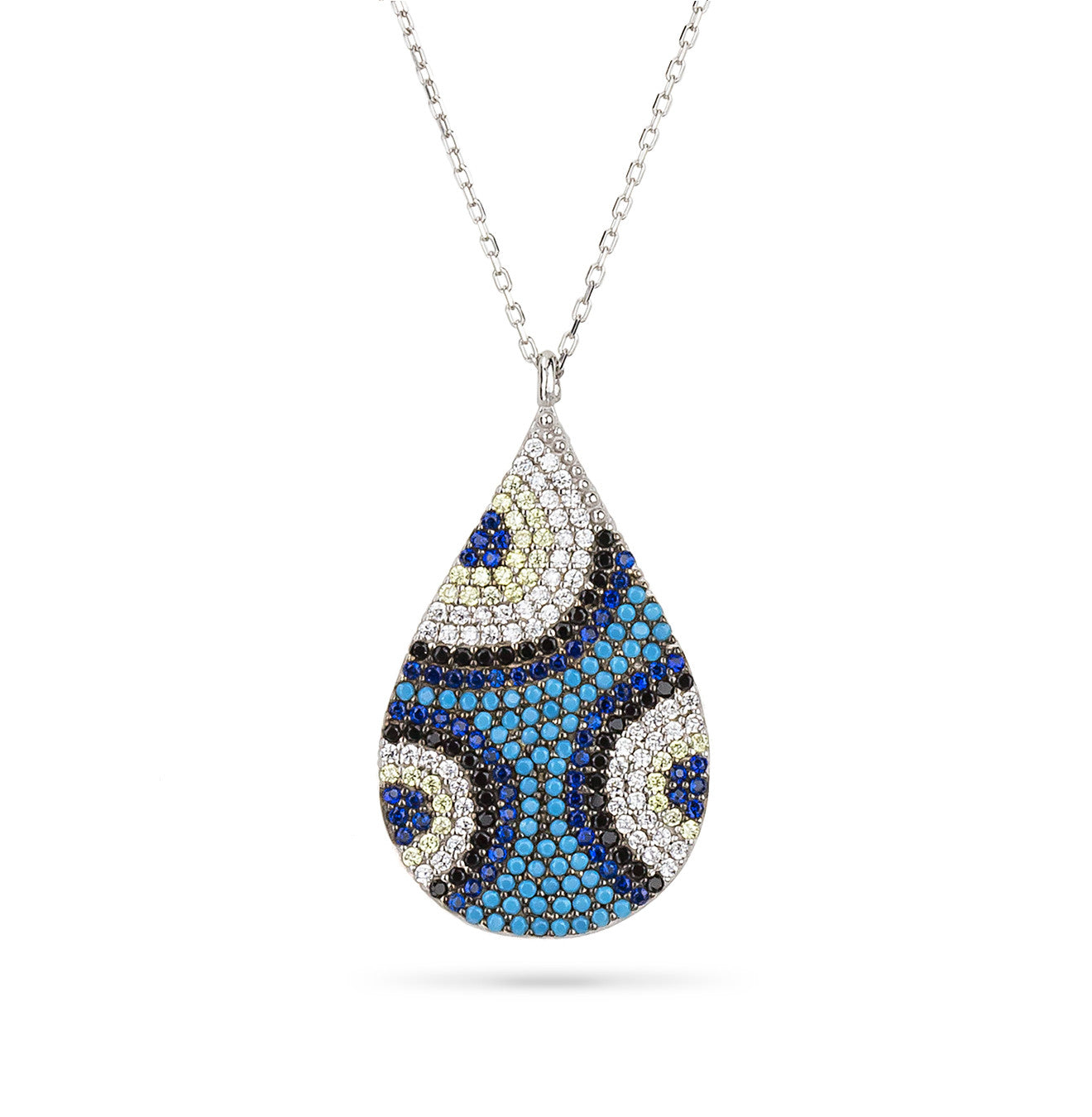 Evil Eye Turkish Tear Drop Shaped Pendant Silver 925