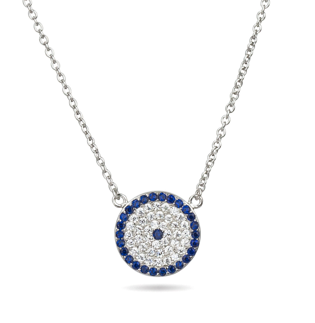 Evil Eye Round Pendant White Color Silver 925