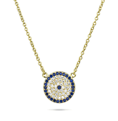 Evil Eye Round Pendant Yellow Gold Color Silver 925
