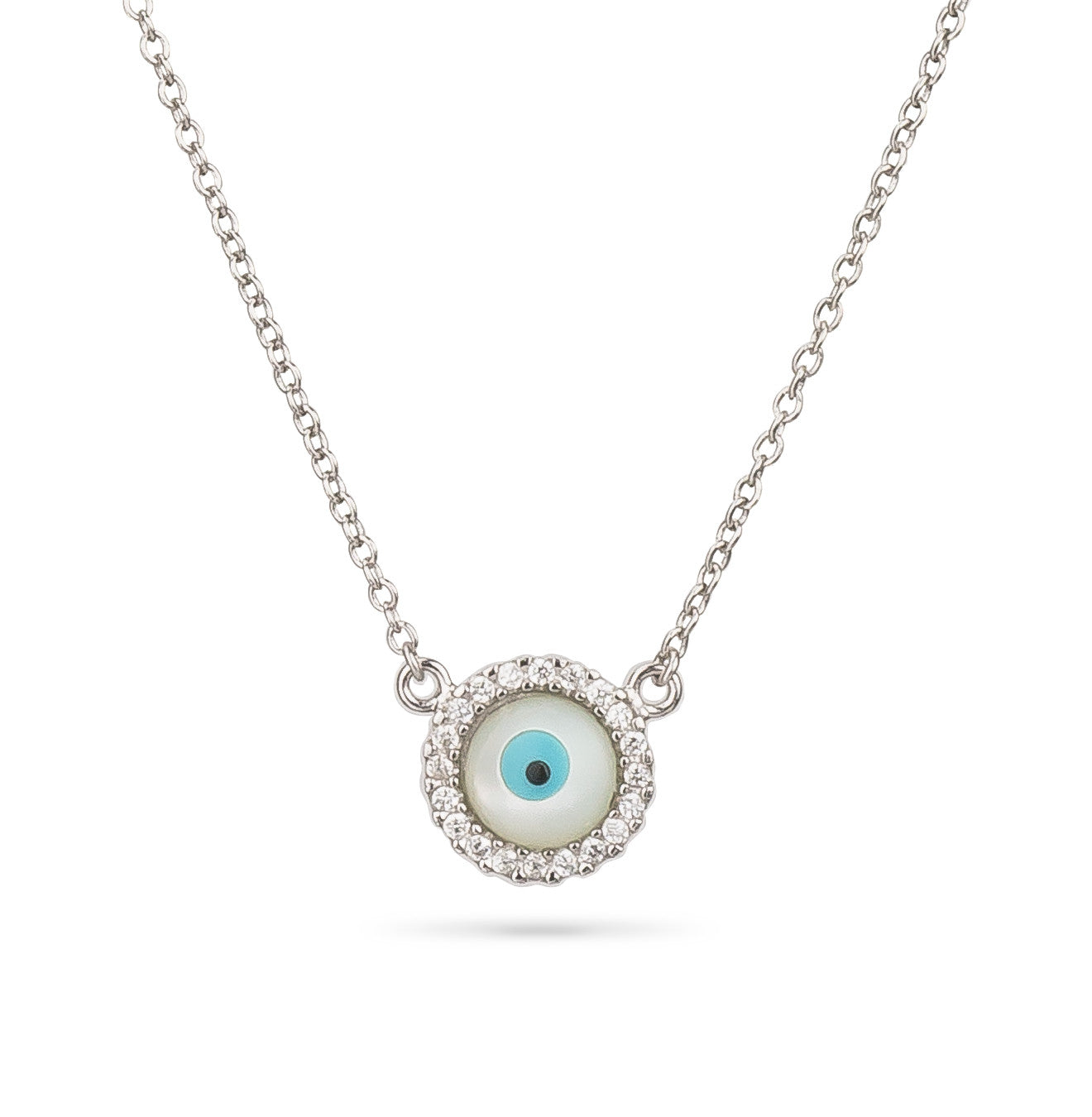 Evil Eye Round Shape Mother Pearl Pendant Silver 925