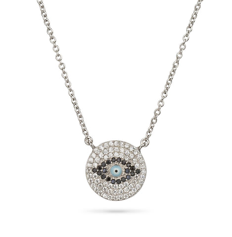 Evil Eye Pave Zirconia Round Shape Necklace Silver 925