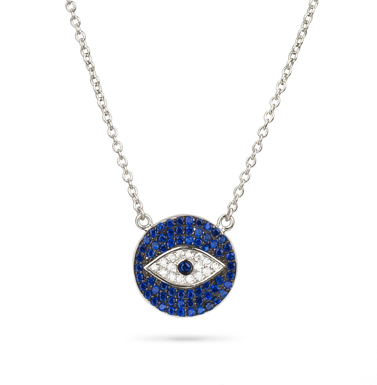 Evil Eye Pave Charm Necklace Silver 925