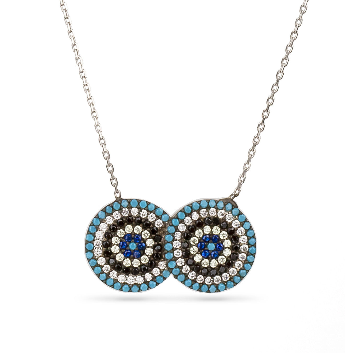 Evil Eye Double Eye Necklace Silver 925