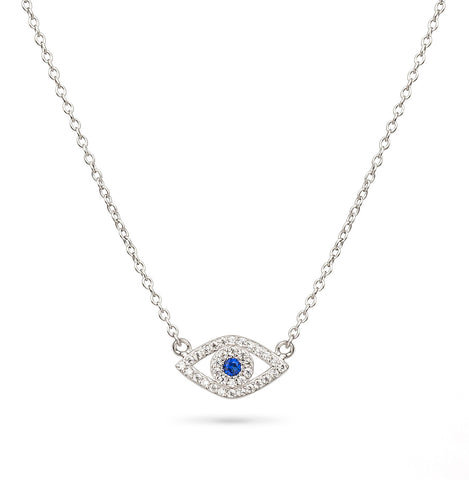 Evil Eye Blue Sapphire Eye Shaped Necklace Silver 925