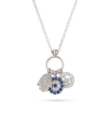 Evil Eye, Hamsa Hand and Peace Charm Necklace Silver 925