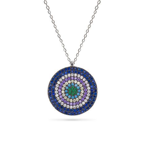 Evil Eye Boho Multi Color Necklace Silver 925