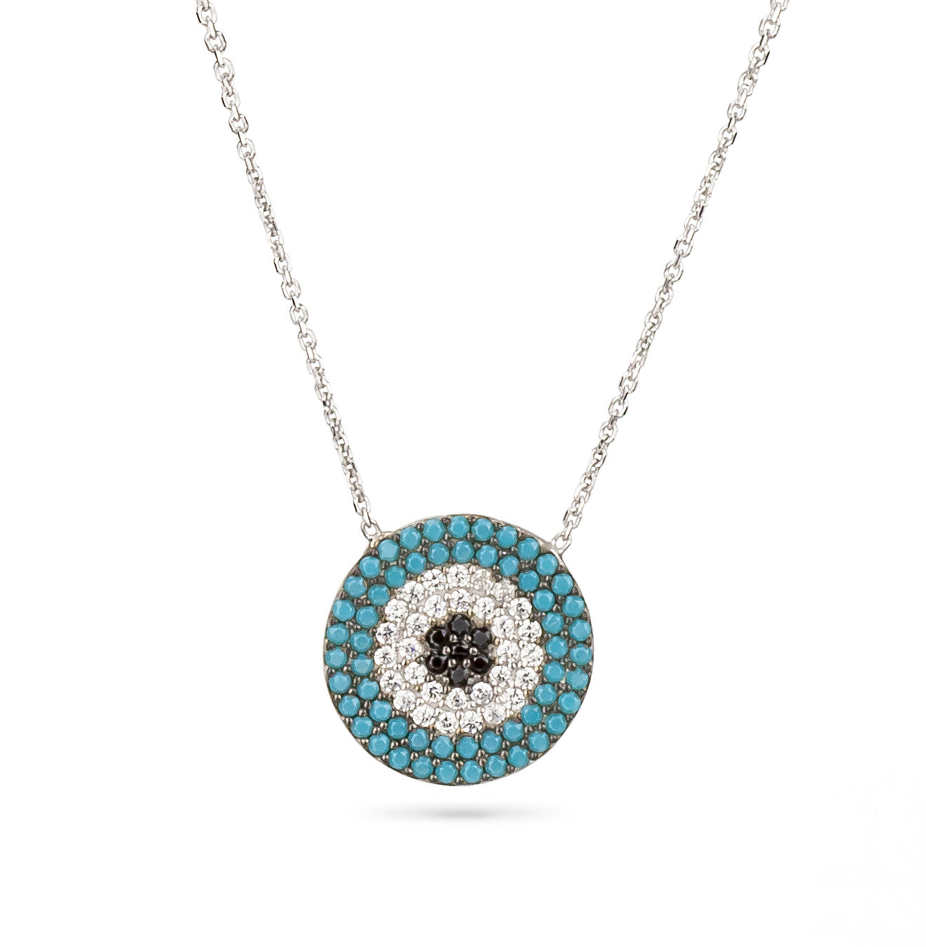 Evil Eye Boho Turquoise Necklace Silver 925