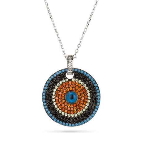 Evil Eye Opal Round Shape Necklace Silver 925