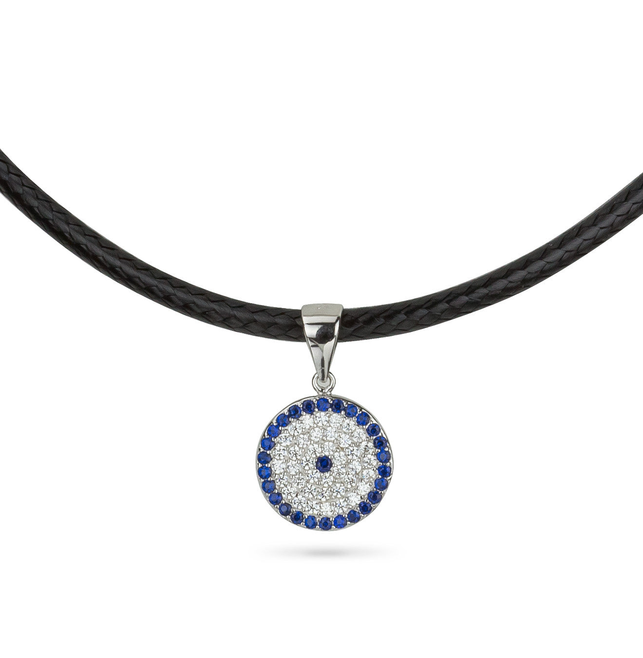 Evil Eye Leather Choker with Round Pendant Silver 925
