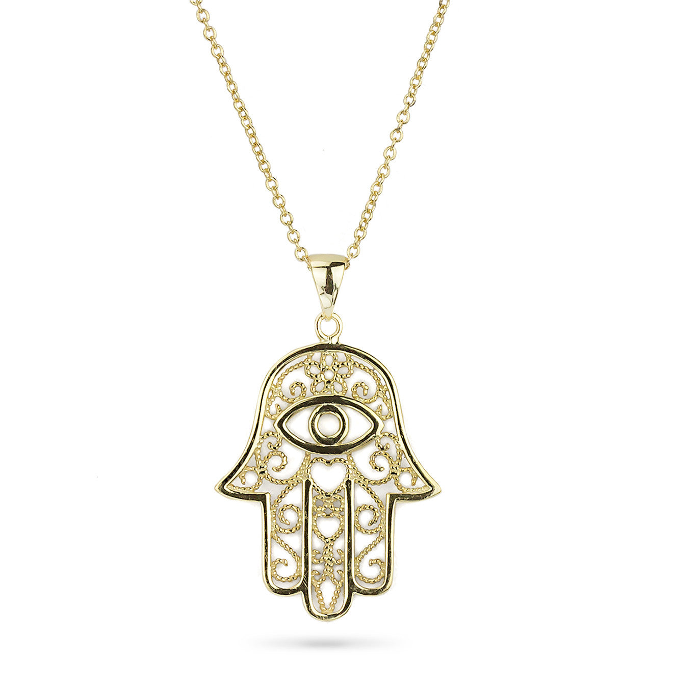 Hamsa Hand Yellow Gold Color Pendant Silver 925