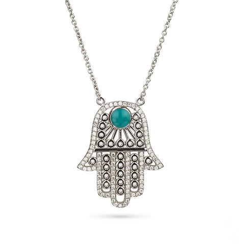 Hamsa Hand and Evil Eye CZ Pendant Silver 925