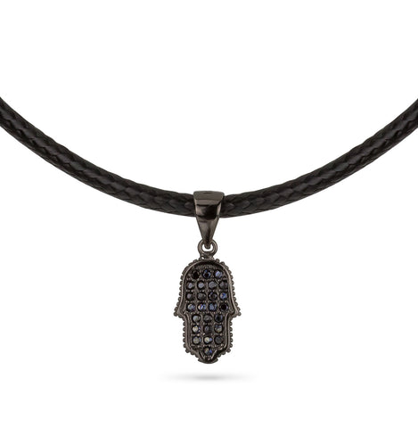 Hamsa Hand Leather Choker Silver 925